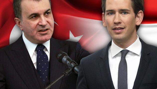 Der türkische Europaminister Ömer Celik und Österreichs Außenminister Sebastian Kurz (Bild: thinkstockphotos.de, AFP/ADEM ALTAN, AP/Ronald Zak)