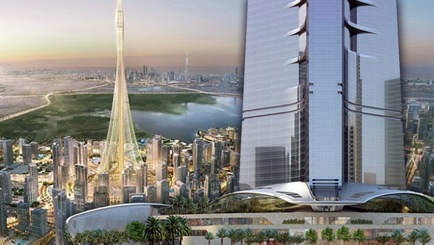 "Das Duell: ""The Tower"" in Dubai (li.) gegen ""Jeddah Tower"" in Saudi Arabien. (Bild: PRNews)"