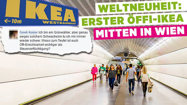 """Wiener Grüne feiern Ikea: """"Unglaubliches Eigentor"""" (Bild: facebook.com/Die Grünen Wien)"""