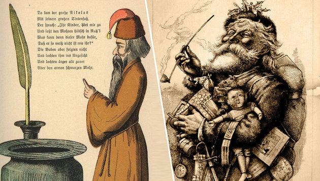 Nasts Weihnachtsmann aus dem Jahr 1881 (rechts) (Bild: Heinrich Hoffmann (gemeinfrei), Thomas Nast (gemeinfrei))