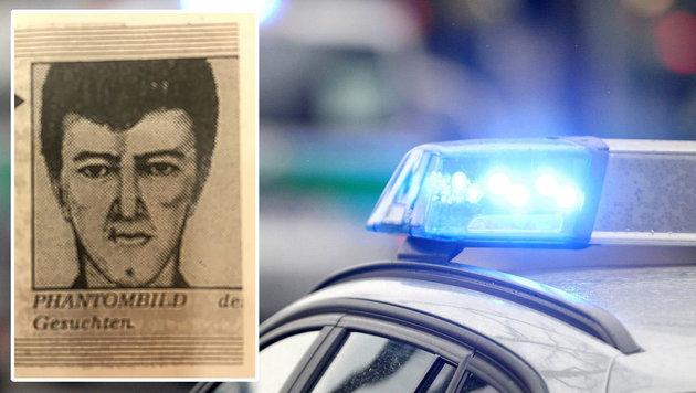 Mit diesem Phantombild jagte die Polizei den Mörder und setzte damals 5000 Mark Belohnung aus. (Bild: APA/dpa)
