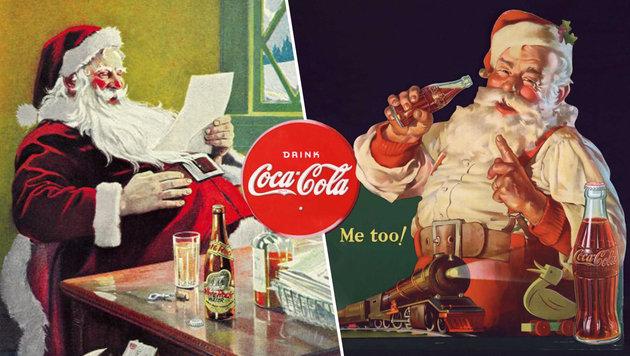Werbung mit dem Weihnachtmann bei White Rock (links) und Coca-Cola (rechts) (Bild: White Rock Collectors Association, Coca-Cola)