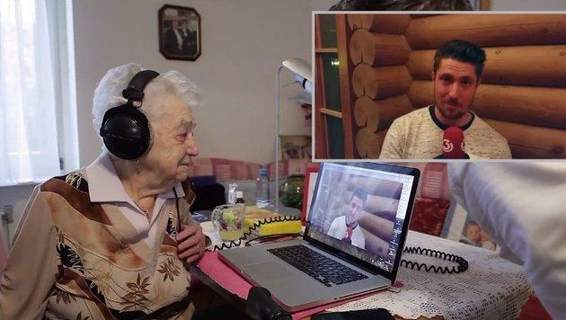 Luzia Musil ist mit fast 100 Jahren Marcel Hirschers ältester Fan. (Bild: Ö3)