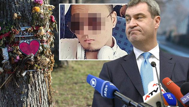 CSU-Minister Markus Söder (rechts) und der Täter von Freiburg (Bildmitte) (Bild: APA/Hans Klaus Techt, APA/AFP/dpa/PATRICK SEEGER, facebook.com)
