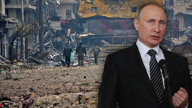 Putin fordert nun Waffenruhe für ganz Syrien (Bild: APA/AFP/George OURFALIAN, ASSOCIATED PRESS)
