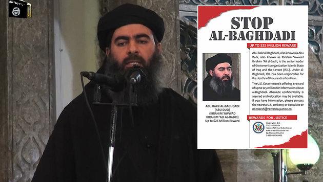USA bieten nun 25 Millionen Dollar für Baghdadi (Bild: AP, www.rewardsforjustice.net)