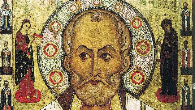 Nikolaus von Myra auf einer russischen Ikone von Aleksa Petrov aus dem Jahr 1294 (Bild: Wikipedia (gemeinfrei))