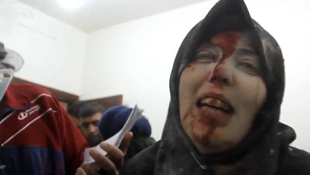 Um Fatima überlebte einen Bombenangriff auf ihren Wohnblock. (Bild: twitter.com)