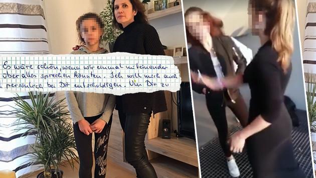 """Patricia mit ihrer Anwältin Astrid Wagner. Das Mädchen will seiner Freundin Leonie (re.) verzeihen. (Bild: """"Krone"""", Astrid Wagner)"""