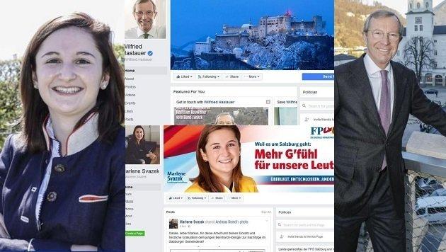 """""""Gefällt mir""""-Kaiser: LH Haslauer (ÖVP) und FPÖ-Chefin Svazek sind Salzburgs beliebteste Politiker. (Bild: Grafik """"Krone"""", Markus Tschepp)"""