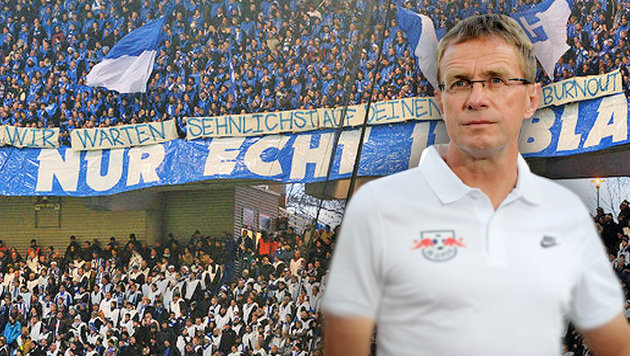 Widerlicher Fan-Banner gegen Leipzigs Rangnick! (Bild: GEPA, twitter.com)