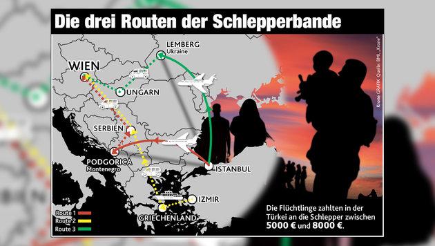 """Schleppermafia verdiente in 10 Jahren 15 Mio. Euro (Bild: """"Krone""""-Grafik)"""