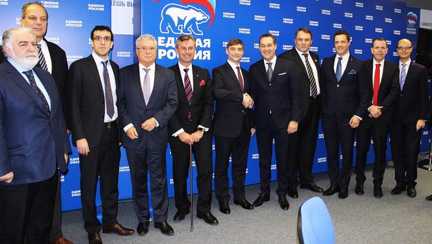 FPÖ und Putin-Partei arbeiten jetzt zusammen (Bild: APA/FPÖ LINZ)