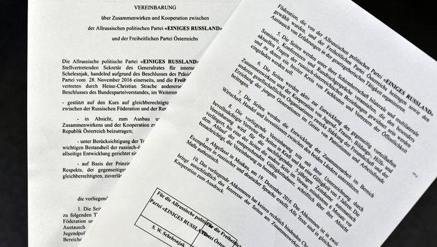 Das zweiseitige Abkommen der FPÖ mit der Kreml-Partei Einiges Russland (Bild: APA/Hans Klaus Techt)