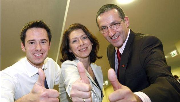 Marco Sampl, Eveline Sampl-Schiestl und Anzengruber nach Wahlsieg 2009 (Bild: Markus Tschepp)