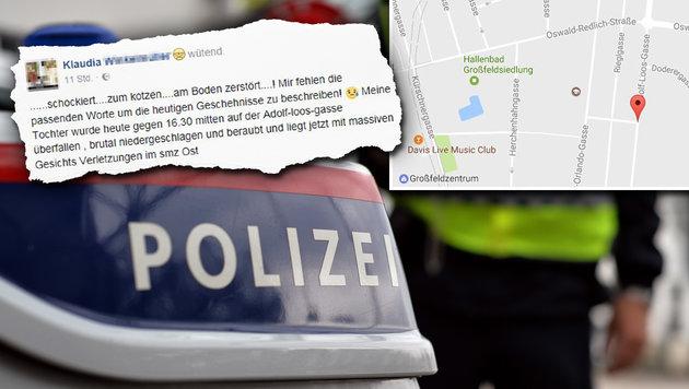 Wien: 15-Jährige von Räubern spitalsreif geprügelt (Bild: APA/BARBARA GINDL, facebook.com, Goolge Maps)
