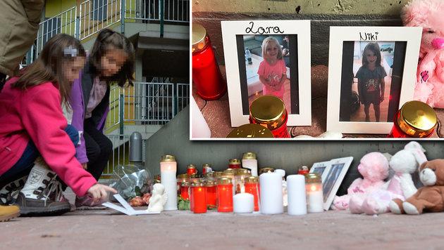 Der Anteilnahme nach dem Drama ist groß: Verwandte, Freunde und Nachbarn entzündeten Kerzen. (Bild: zeitungsfoto.at/Liebl Daniel)