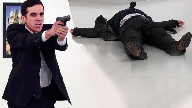Bilder des Grauens: Der Attentäter und sein Opfer, der russische Botschafter Andrej Karlow (Bild: AP/Burhan Ozbilici)