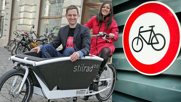 Fahrradbeauftragter Martin Blum mit Wiens Vizebürgermeisterin Maria Vassilakou (Bild: Klemens Groh, thinkstockphotos.de)