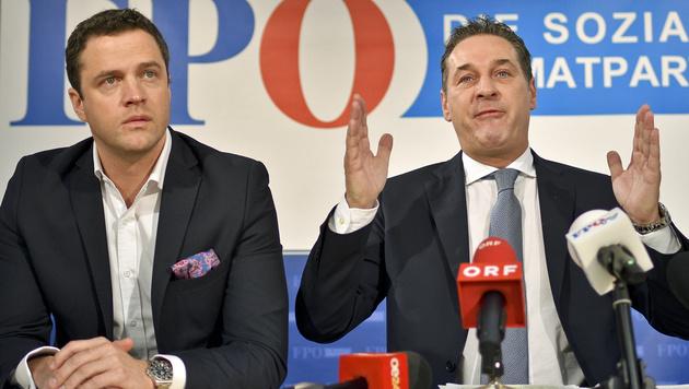 Johann Gudenus und Heinz-Christian Strache (Bild: APA/HERBERT NEUBAUER)