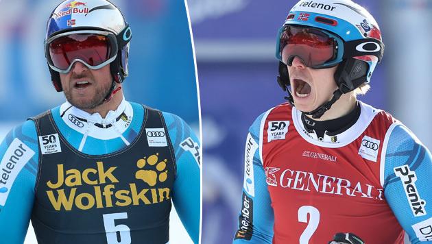 Henrik Kristoffersen (r.) und Aksel Lund Svindal (Bild: GEPA)
