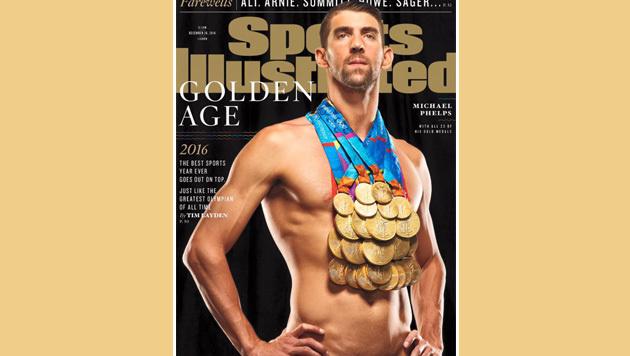 Ein Bild für die Geschichtsbücher: Michael Phelps mit all seinen 23 Goldmedaillen! (Bild: Sports Illustrated)