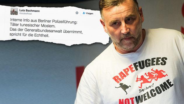 Rätselhafter Tweet von Pegida-Gründer Bachmann (Bild: APA/AFP/dpa/Arno Burgi, twitter.com)