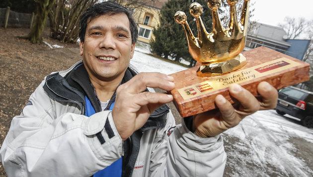 Mohan Bamadur mit der Goldenen Krone (Bild: MARKUS TSCHEPP)