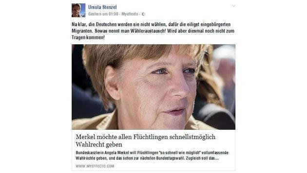 """Diesen """"Artikel"""" hat Stenzel Donnerstagfrüh auf Facebook geteilt. Gelesen hat sie ihn wohl nicht. (Bild: facebook.com)"""