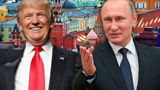 """Mit seinen """"russischen Freunden"""" hat Donald Trump bereits öfters für Aufsehen gesorgt. (Bild: AFP/CHIP SOMODEVILLA, AP/Alexei Druzhinin, thinkstockphotos.de)"""