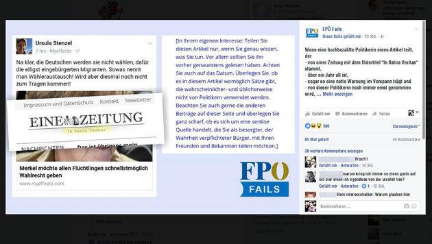 """Die Facebook-Seite """"FPÖ Fails"""" rät Stenzel unter anderem, Artikel zu lesen, bevor sie sie teilt. (Bild: facebook.com)"""