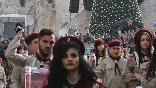 Bethlehem: Palästinensisch-christliche Pfadfinder anlässlich der Feiern der Geburt Jesus Christus (Bild: APA/AFP/HAZEM BADER)