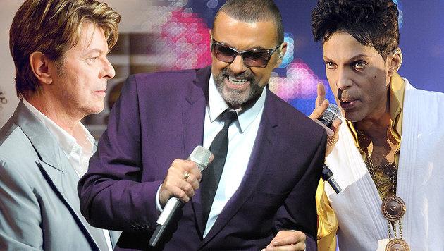 David Bowie, George Michael, Prince (v.l.) (Bild: APA/HERBERT PFARRHOFER, AFP/BERTRAND GUAY, ORF)