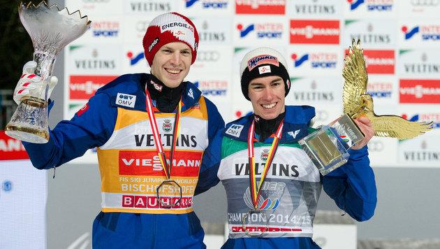 Michael Hayböck und Stefan Kraft (Bild: APA/ANGELIKA WARMUTH)