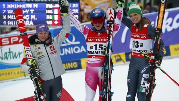 Tessa Worley, Mikaela Shiffrin und Manuela Mölgg (Bild: AP)