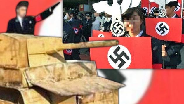 Schüler marschierten in Nazi-Uniformen auf (Bild: dpa)