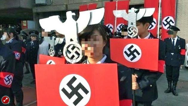 taiwan sch ler marschierten in nazi uniformen auf. Black Bedroom Furniture Sets. Home Design Ideas