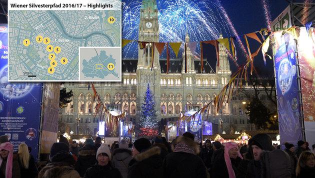 Wien: Silvesterpfad lockt mit 11 Freiluft-Hotspots (Bild: APA-Grafik, APA/HANS PUNZ)