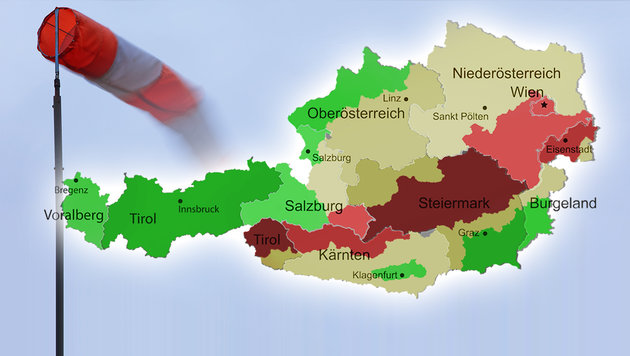Sturmböen fegen mit 120 km/h über das Land (Bild: thinkstockphotos.de, dpa, krone.at-Grafik)