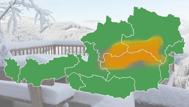 Wintereinbruch: Bis zu 50 Zentimeter Neuschnee (Bild: krone.at-Lesereporter, krone.at-Grafik)