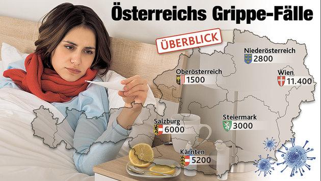 """Mehr als 30.000 Österreicher hüten das Bett (Bild: """"Krone""""-Grafik)"""