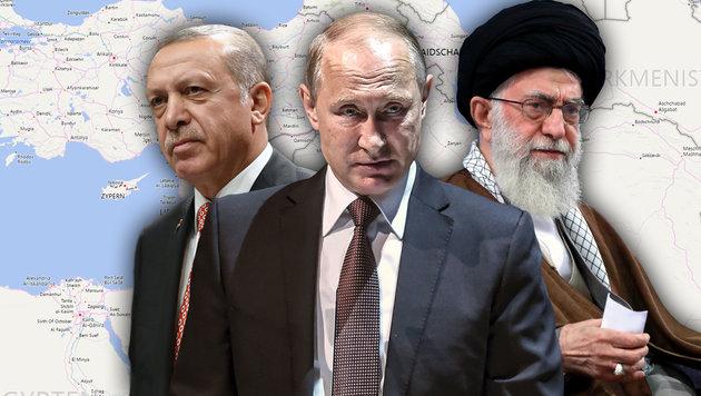 """Der Russland-Türkei-Iran-Plan: Syrien """"filetieren"""" (Bild: AFP/OZAN KOSE, AP, Bing.com)"""