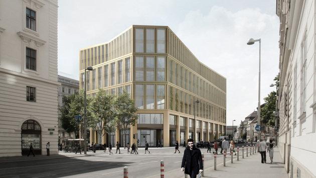 So soll das neue Gebäude an der Wiener Rathausstraße 1 aussehen. (Bild: Markus Hofstaetter/www.hofstaetter.co)