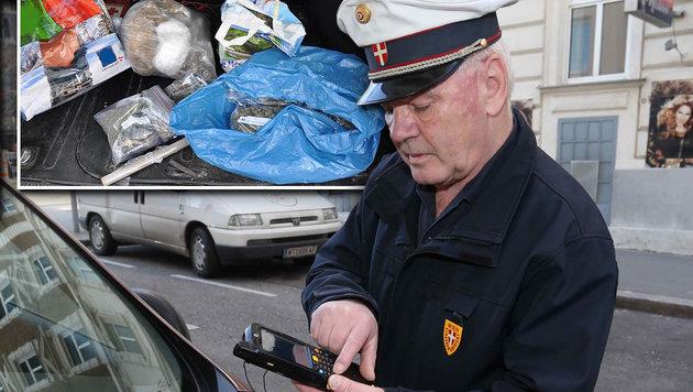 """Parksheriff Alfred Philip ließ die Dealer auffliegen. In einem geparkten Auto lagen 8 Kilo """"Gras"""". (Bild: APA/LPD, Reinhard Judt)"""
