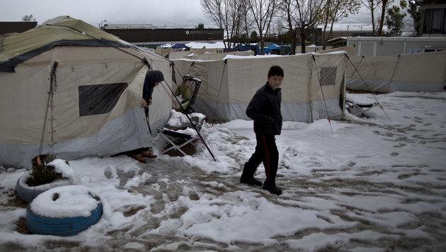 Sturm und Kälte: Winterchaos in Griechenland (Bild: The Associated Press)