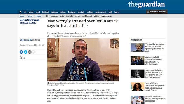 "Verdächtiger Pakistani: ""Die Polizei schlug mich"" (Bild: theguardian.com)"