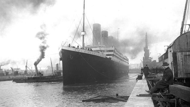 """Die """"Titanic"""" im Hafen von Southampton (Bild: Wikipedia (gemeinfrei))"""