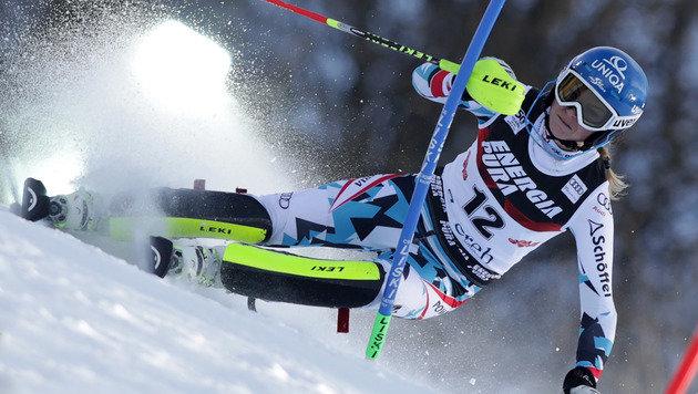 Bernadette Schild rast im Zagreb-Slalom auf Rang 5 (Bild: GEPA)