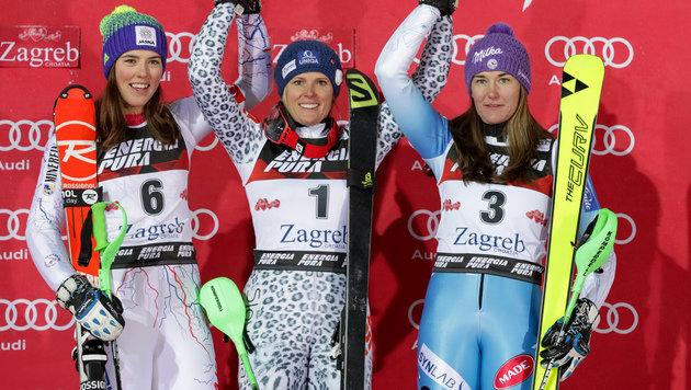 Petra Vlhova, Veronika Velez-Zuzulova und Sarka Strachova (Bild: GEPA)