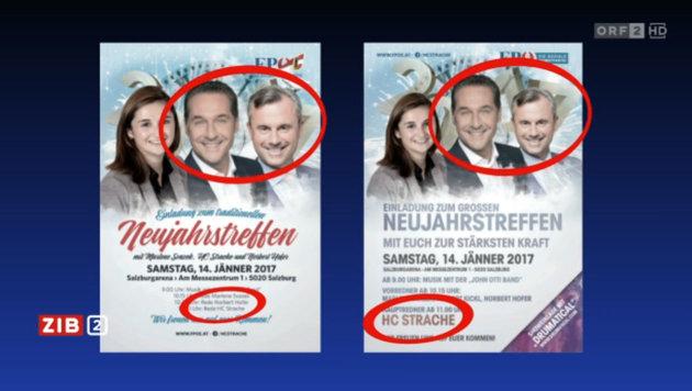 Die beiden Prospekte zum Neujahrestreffen der FPÖ im direkten Vergleich (Bild: Screenshot tvthek.orf.at)